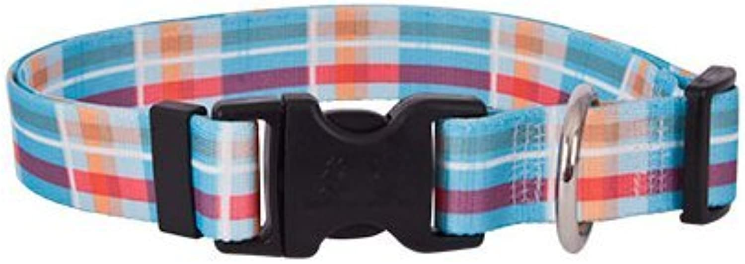 Madras bluee Dog Collar  Size Medium 14  to 20  Long  Made In The USA
