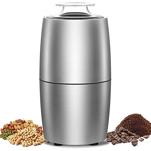 Electric Spice Grinder Stainless Steel Coffee Grinder 200W Portable Coffee and Spice Grinder with Stainless Steel Blades, 50dB Low Noise Grain Grinder, 50g Capacity