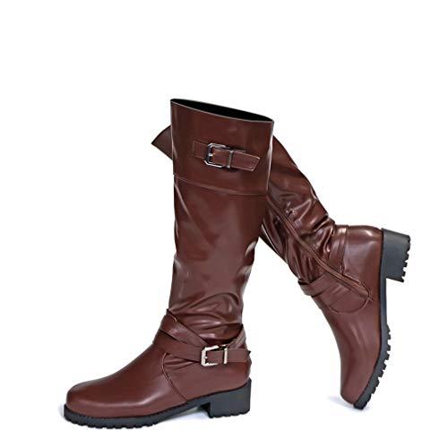 Stiefel Damen Leder Flach Reißverschluss Overknee Langschaft Stiefel Winter Reitstiefel Casual Elegante Schuhe Fashion Schwarz Khaki Grün Gr.35-43 BR41