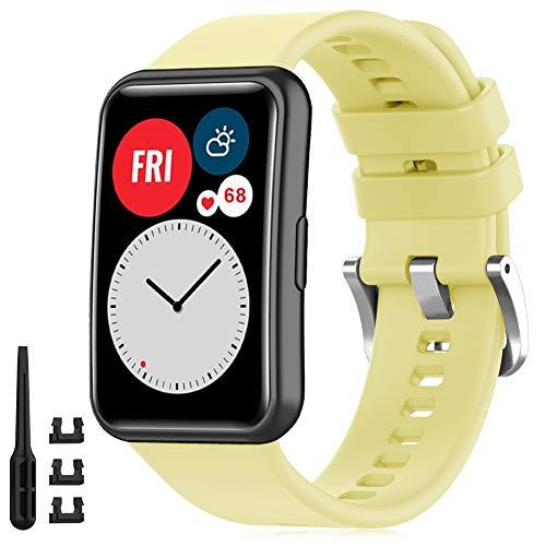 Find-MyWay Correas Compatible para Huawei Watch FIT Correa Mujer Hombre Intercambiable Pulsera, Amarillo Repuesto Accesorios Band para Watch Fit Smartwatch, (sin Reloj)
