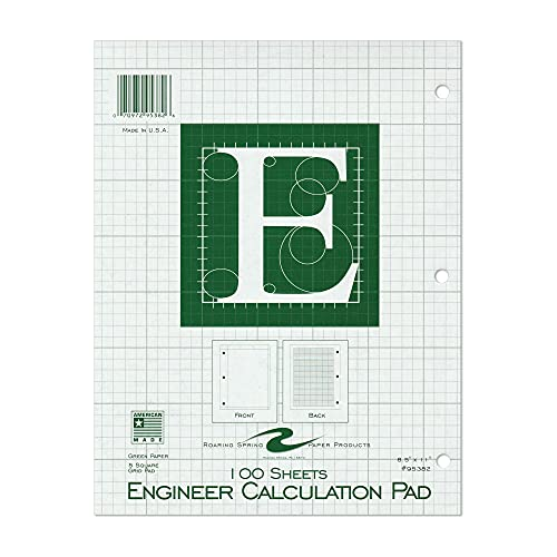 """Roaring Spring 5x5 Grid Engineering Pad, 15# Green, 3 Hole Punched, 8.5"""" x 11"""" 100 Sheets, Green Paper"""
