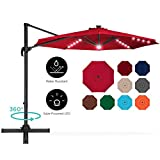 Best Choice Products 10ft 360-Degree LED Aluminum Polyester Cantilever Offset Hanging Market Patio Umbrella for Outdoor Shade, Backyard, Poolside w/Easy Tilt and Smooth Gliding Handle - Red