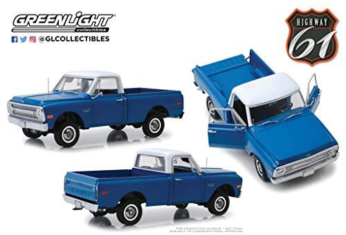 Highway 61 kompatibel mit Chevrolet C-10 Pick Up Lift Kit 1970 blau weiß Modellauto 1:18