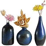 Vase Juego de 3 piezas de cerámica para tumba, hecho a mano, color azul, 10 x 4,5 x 11 cm, para flores