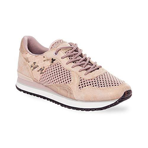 Zapatilla Sneaker Yumas Sidney Rosa Fabricado en Nylon Perforado y Microfibra Transpirable Plantilla Confort Látex para Mujer