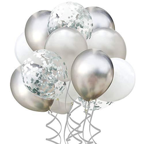 Usee 風船 飾り付け 紙吹雪風船 バルーン 30個入り 誕生日 パーティー 記念日 プロポーズ 結婚式に(シルバー)