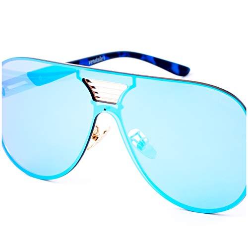 Verdster Gafas de Sol Extra Grandes Azules de Espejo para Hombre Blade...