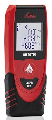 Leica DISTO D1 - Medidor de distancia láser con Bluetooth 4.0 (130 pies), color negro y rojo
