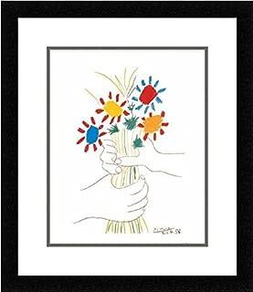 Buyartforless IF MUS210X 1.25 Plexi Wire B Framed Petite Fleurs by Pablo Picasso 14X11 Art Print Poster Wall Decor Double Mat, White
