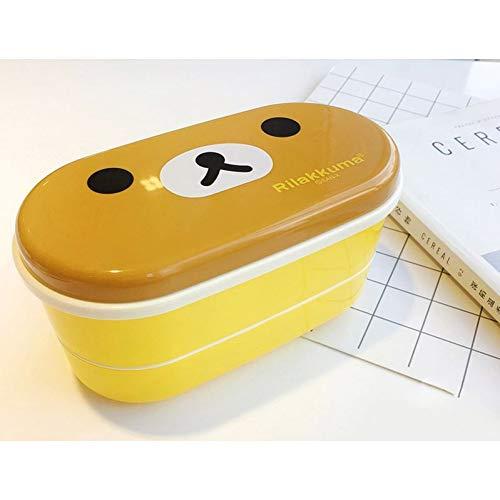 WUCANHE Kawaii Lunch Box Caja De Bento De Almacenamiento De Alimentos De Plástico Para Oso Lindo Para Niños 2 Capas Con Palillos Nuevo envío gratis
