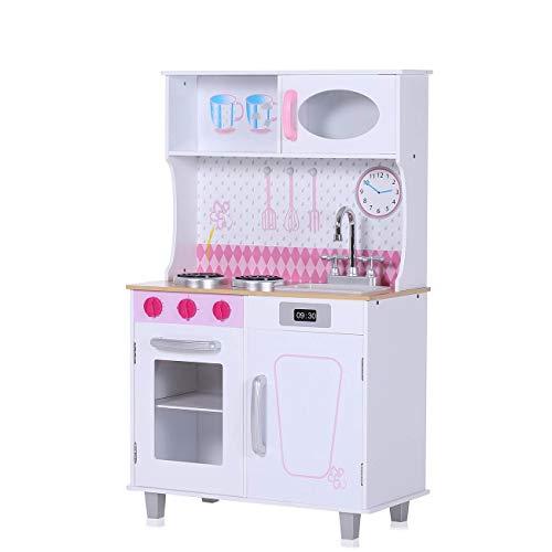 Baby Vivo Cucina Giocattolo per Bambini Gioco in Legno Giocare Educazione Fornello Divertimento - Romy in Blanc