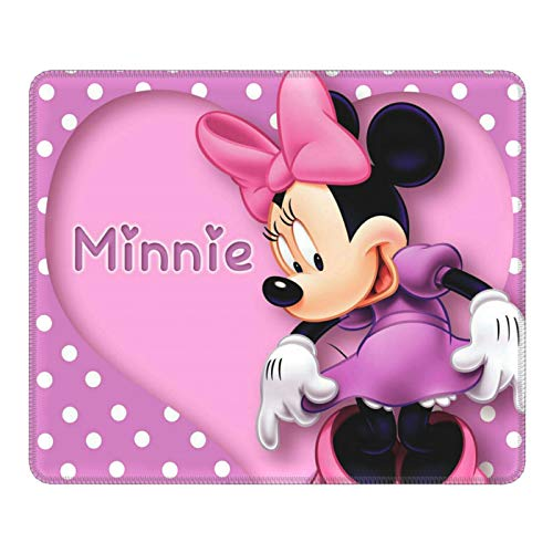 Minnie Mouse Gaming Mouse Pad Square Anti-Slip Rubber Mousepad with Stitched Edges for Office Laptop Computer PC Wireless Mice 10 x 12 inches