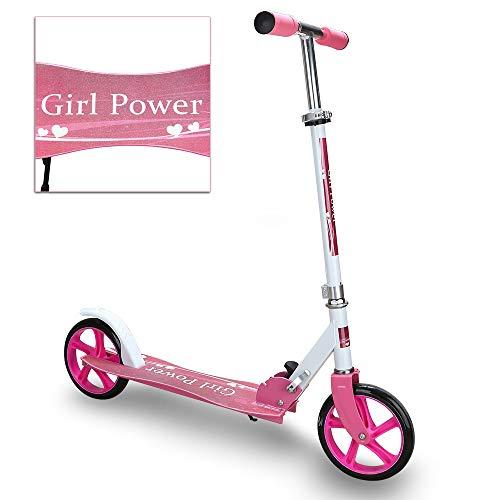 VINGO Kinderscooter ab 5 Jahre, Kinderroller 205mm Kick Scooter, Klapp Kinder Roller, klappbar Kinderroller mit 2 Radern Höhenverstellbar Sichere Premium Kinder Roller(Rosa)