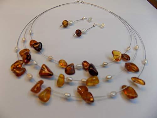 Collana e orecchini Ambra del Baltico perle acqua dolce barocche argento 925