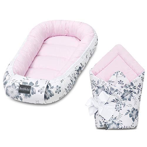 Bellochi Set 2in1 Babynest und Einschlagdecke - Baby Erstausstattung Babynestchen Babyhörnchen - 100% Baumwolle - ÖKO-TEX Zertifiziert - Pink Berry