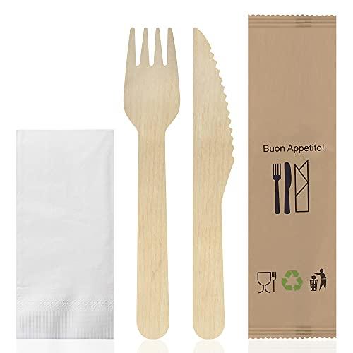 exxens Set Posate Monouso Biodegradabili Imbustate Forchetta Coltello e Salvietta Kit 50 Buste (Pacco 50 Kit)