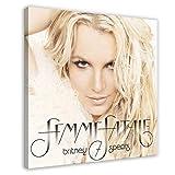 American Singer Britney Spears Femme Fatale - Póster de lona para decoración de pared (60 x 60 cm)