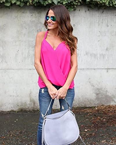 XMYNB Camiseta de Tirantes Mujer Blusa Femenina Talla Grande Tirantes Sexy Cruce Chaleco Camisa Superior-Rose,4XL
