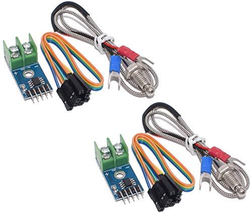 TECNOIOT 2pcs MAX6675 K-Type Thermocouple Temperature Sensor 0-800 Degrees Module