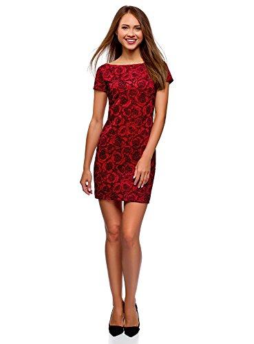 oodji Ultra Damen Mini-Kleid mit Flockdruck, Rot, DE 34 / EU 36 / XS