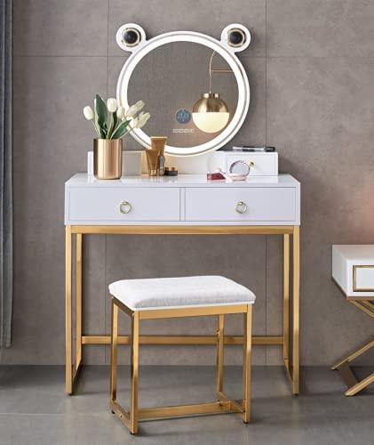 CJHOME Mesa de tocador con Luces LED Espejo - Conjunto de Mesa de Maquillaje de tocador Blanco con Espejo de Brillo Ajustable, Taburete Acolchado y Organizador de Maquillaje Gratis