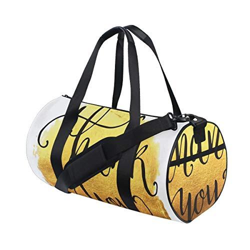 HARXISE Bolsa de Viaje,Telón de Fondo de Pintura Redonda de Tono Amarillo Dorado con Texto cursivo,Bolsa de Deporte con Compartimento para Sports Gym Bag