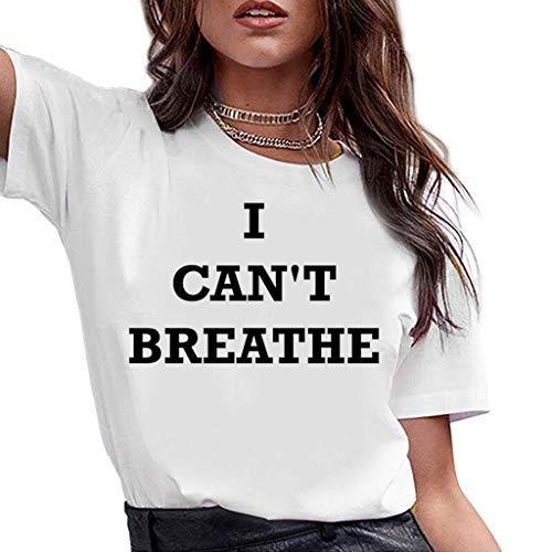 ZXMDP I Cant Breathe Estampado alfabético Talla Grande Camiseta Harajuku Black Matter Life Verano Casual Moda Deportiva Manga Corta Tops de Mujer al por Mayor Blanco S-3XL
