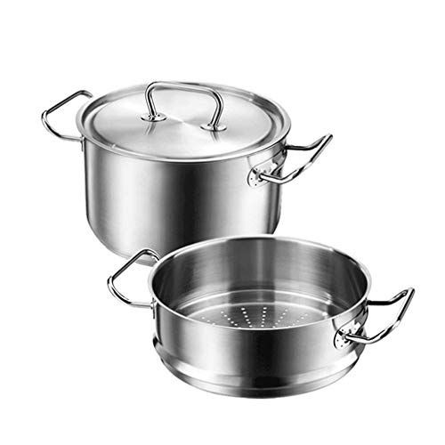 AA-Cookware set CHJTC Zwilling Steamer Steamer tiroir 2 pièces Pot Ensemble Pot à Soupe ragoût en Acier Inoxydable ménage Riz Chaud Pot brûlant