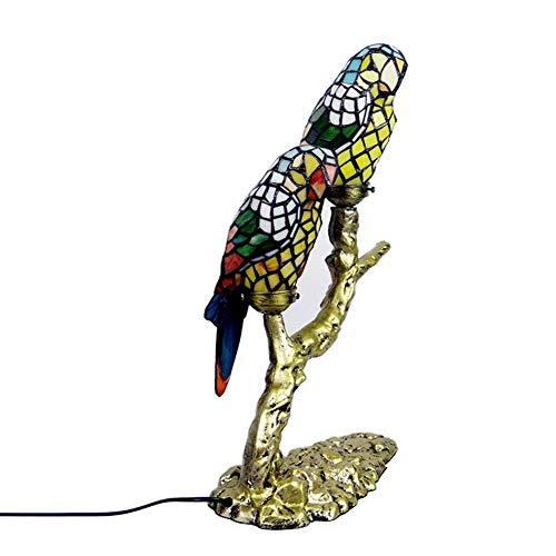 DALUXE Tiffany Style Parrot Table Lámpara Dormitorio Americano Dormitorio Hotel Escritorio Lámparas Vidrio Pintura Lámpara Pantalones Sala de Estar Cocina Cocina Decoración de la Cama Lighting