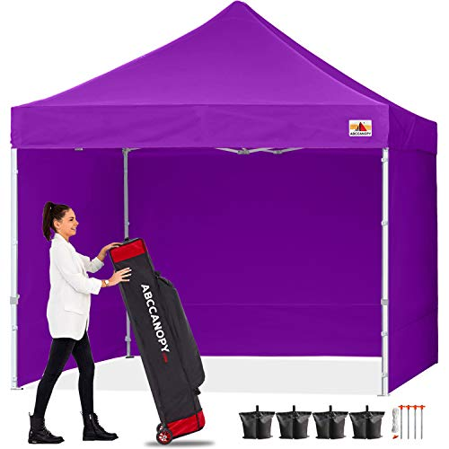 ABCCANOPY Canopy Pop Up Commercial Canopy Tent with Side Walls Instant Shade, Bonus Upgrade Roller Bag, 4 Weight Bags, Stakes and Ropes, Purple