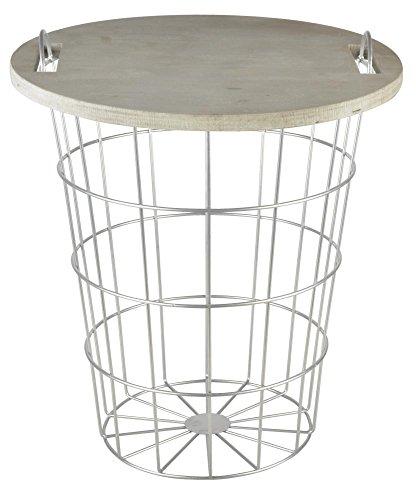 Esschert Design Corbeille en bois de sapin et table en métal 35 x 35 x 42,3 cm