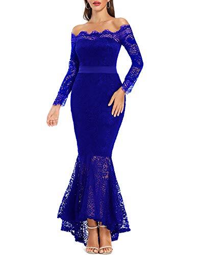 LALAGEN Women's Floral Lace Long Sleeve Off Shoulder Wedding Mermaid Dress Blue L