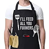 I'll Feed All You - Funny Aprons for Men, Women with 3 Pockets - Dad Gifts, Gifts for Men -...