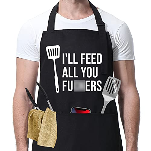 I'll Feed All You - Funny Aprons for Men, Women with 3 Pockets - Dad Gifts, Gifts for Men - Birthday Gifts for Husband, Dad, Son, Boyfriend, Friends, Wife, Mom - Miracu Kitchen Cooking Grilling Apron