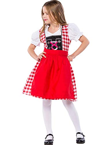 MYRISAM Girls Bavarian Oktoberfest Costumes Dirndl Dress with Apron Beer Maid Fancy Dress Carnival Halloween Costume Red 8-9T
