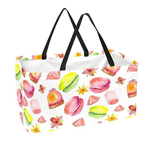 Bolsas reutilizables para comestibles cesta de compras 50L con soporte columna bolsa de almacenamiento de acuarela postres