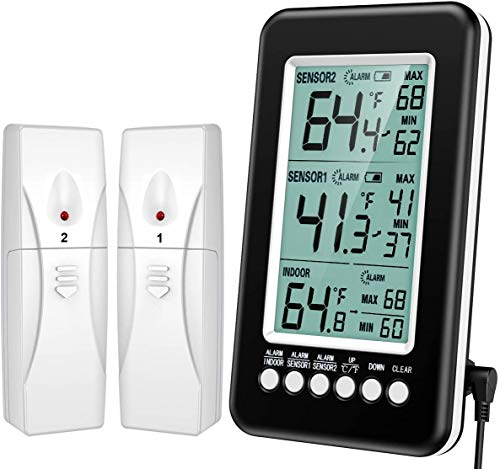 AMIR Brifit Refrigerator Thermometer, Wireless Digital Freezer Thermometer