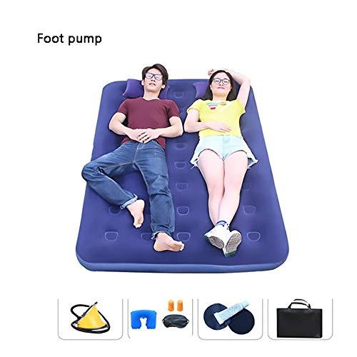 ZHILIAN & Doppelluftmatratze Feuchtigkeitsbeständige Multifunktions-Bodenmatte Luftbett for Park, Strand, Camping Und Büro (Color : Foot Pump)