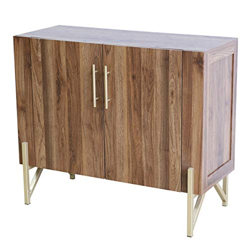 Mejor roomfitters Mid Century Side Board, Dining Room Server, Credenza, Buffet Table with Storage, Elegant Warm Walnut Finish with Gold Legs… crítica 2020