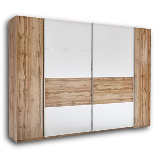 SAN MARINO Eleganter Kleiderschrank mit viel Stauraum - Vielseitiger Schwebetürenschrank in Wildeiche Optik, Weiß - 270 x 226 x 60 cm (B/H/T)