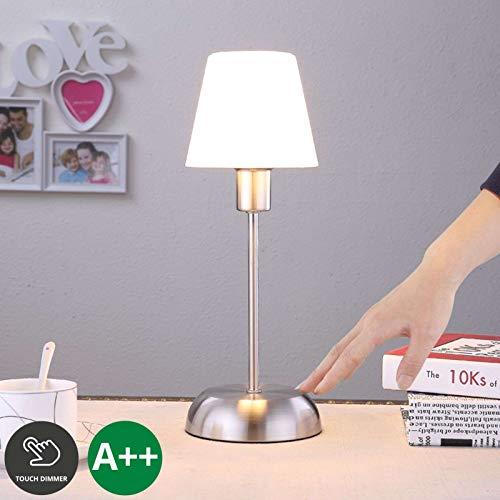 Lindby Tischlampe 'Gregor' (inkl. Touchdimmer) dimmbar (Modern) in Weiß aus Metall u.a. für Schlafzimmer (1 flammig, E14, A++) - Nachttischleuchte, Schreibtischlampe, Nachttischlampe, Touch Lampe