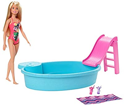 ?Barbie Doll, 11.5-Inch Blonde, and Pool Playset with Slide and Accessories, Gift for 3 to 7 Year Olds