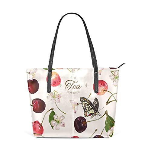 Damen Handtasche mit Kirschen-Schmetterlingsmuster, PU-Leder