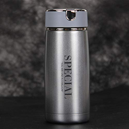 FPXNBONE Isotherme INOX Double Thermos,Tasse à thé Filtre Portable, Mini Tasse étuant-Bleu Ciel_230ml,Bouteille Isotherme en Acier Inoxydable Hermétique