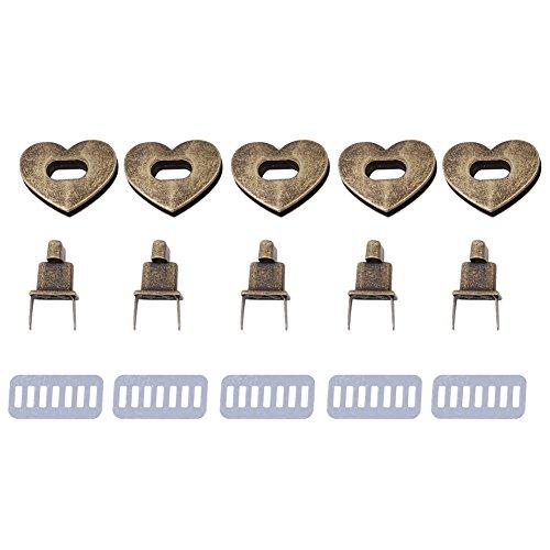 5 Sätze Herzförmigen Tasche Verschluss, Craft Case Verschluss Turnlock Hardware Handtasche Tasche Gürtel Twist Lock Zubehör 3,2 × 2,8 cm(Bronze)