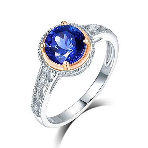 ButiRest Mujer Kein-Metall-Stempel (Mode nur) oro blanco 18 quilates (750) bala azul Tanzanite
