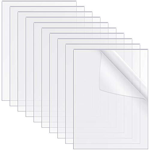 10 Pezzi Lastre Acrilici Trasparenti 10 x 8 Pollici Fogli Trasparente Firmare il Pannello Acrilico per Sostituzione del Vetro Cornice, Tavolo Segni, Calligrafia, Spessore 0,04 Pollici