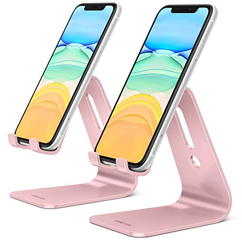 OMOTON Phone Stand, 2Packs Mobile Phone Stands Phone Holders for Desk Bed Filming, Desktop Phone Stand Cradle Dock Holder Compatible for All iPhone and Android Smartphone, Rose Gold + Rose Gold