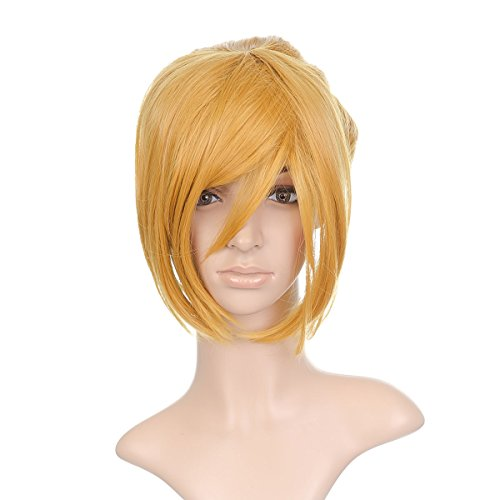 Dark blond Styled courte Anime Cosplay Costume perruque with longue Bangs