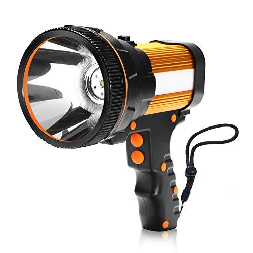 Super Bright Handheld Flashlight,Rechargeable Spot Lights Hand Held,7000 Lumens 6600 mAh LED Flashlight Spotlight,Waterproof Portable for Outdoor Camping Adventure Emergency (Gold)